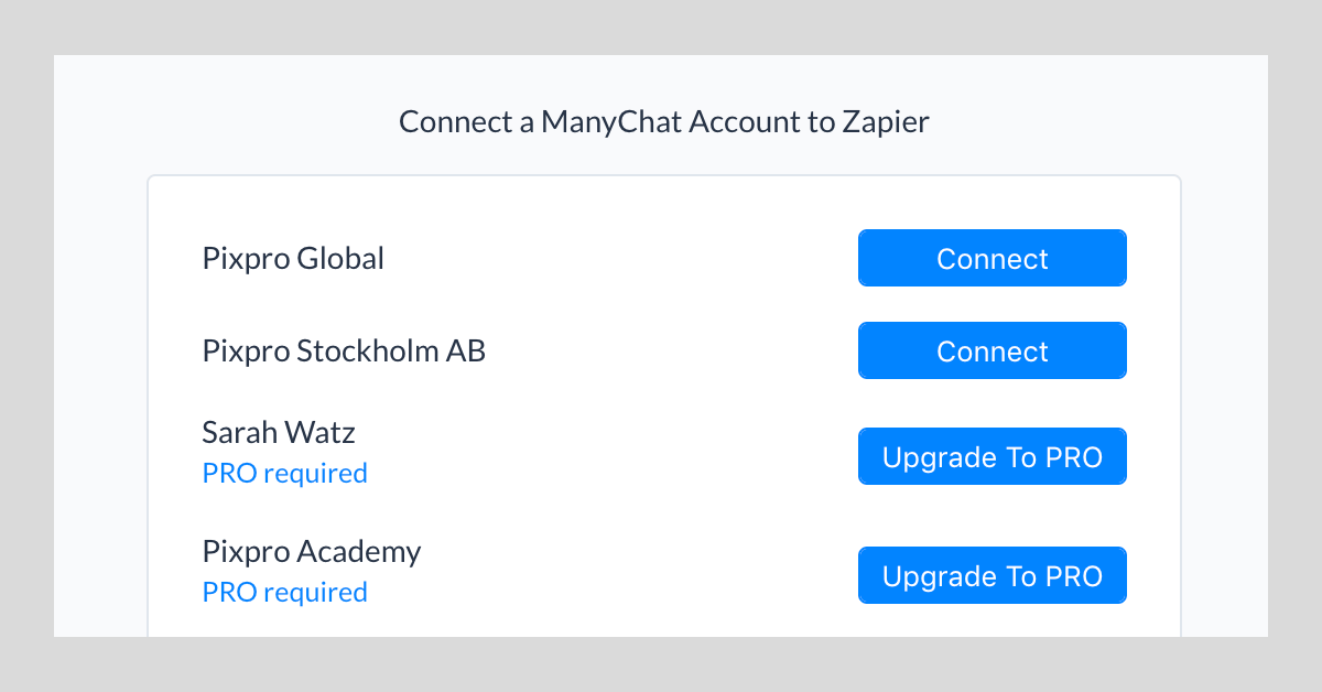 choose account to connect