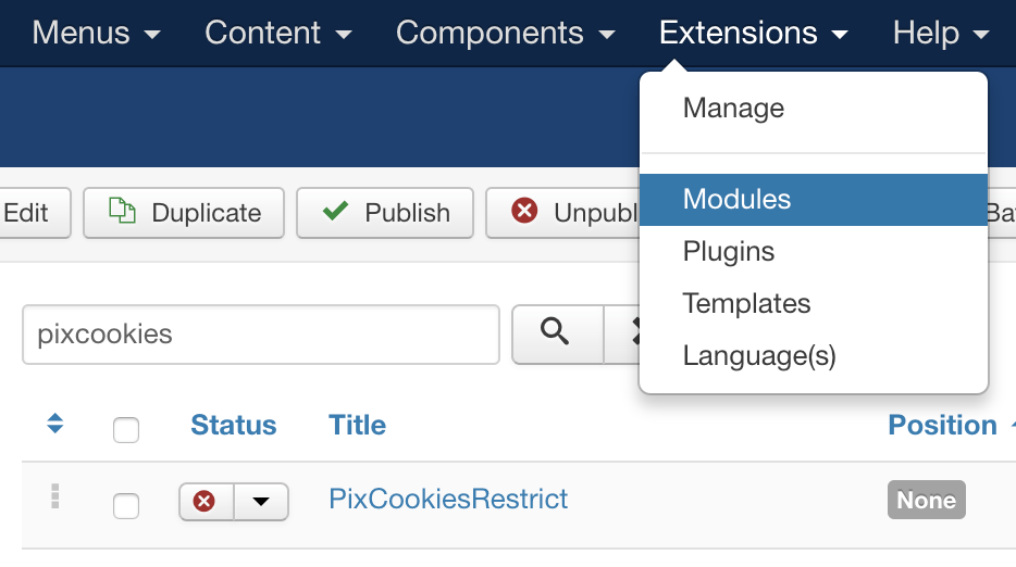 Find the PixCookies Restrict module