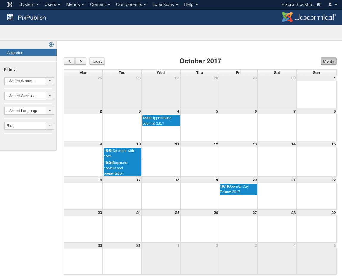 PixPublish offers a calendar view for your content