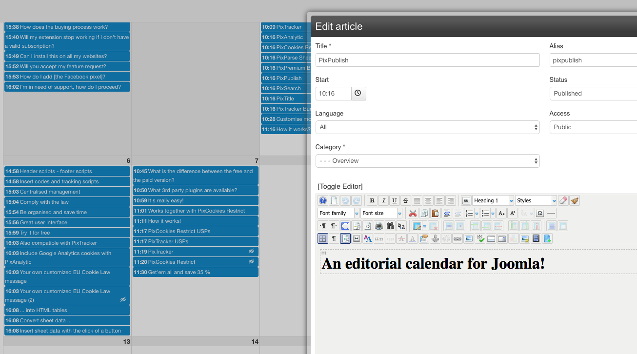 PixPublish Starter, edit articles